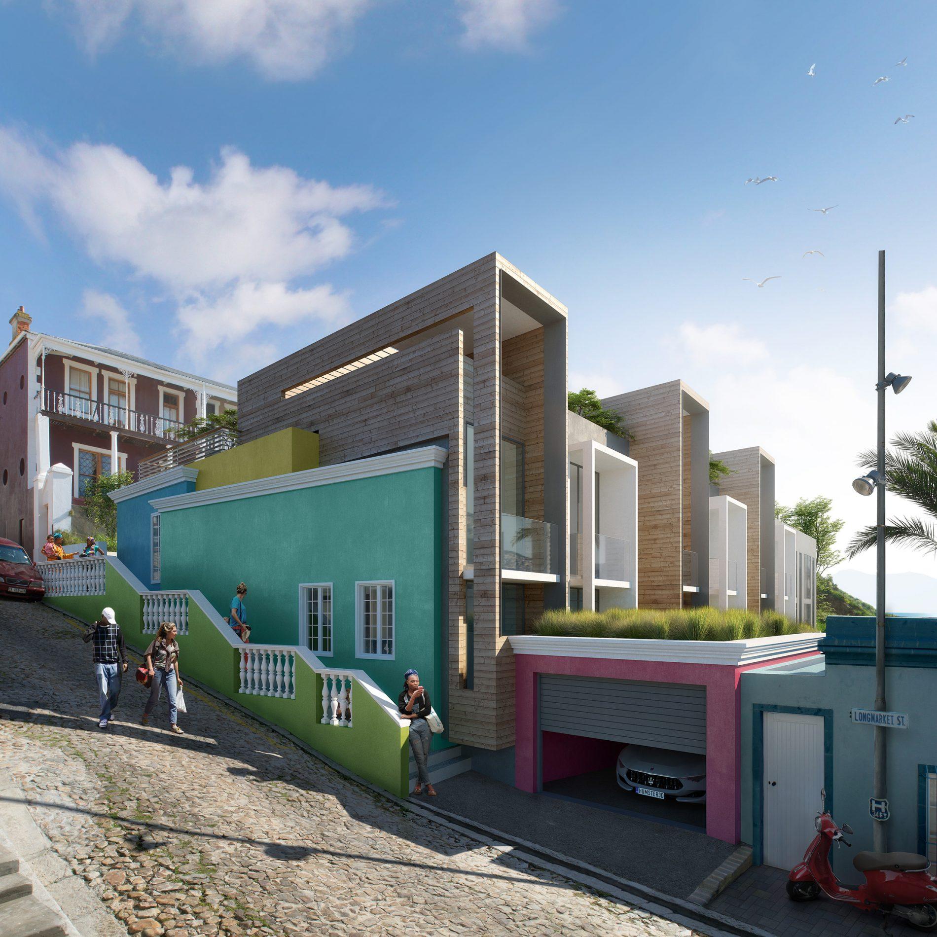 Illustration du projet de Logements en bardage bois et murs peints colorés