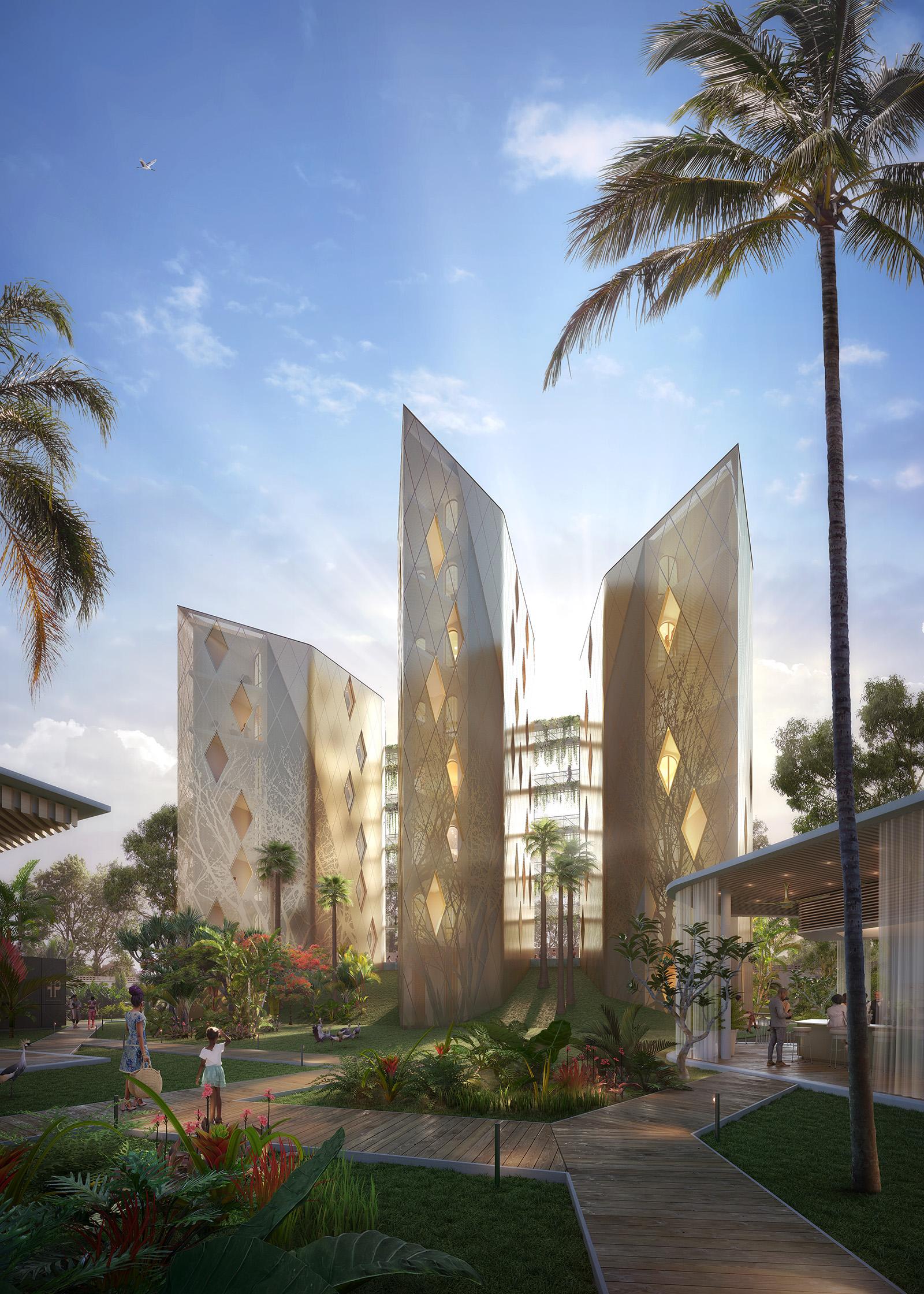 Illustration du projet des architectes 2802 de boutique hotel de Kinshasa et sa tole perforée dorée