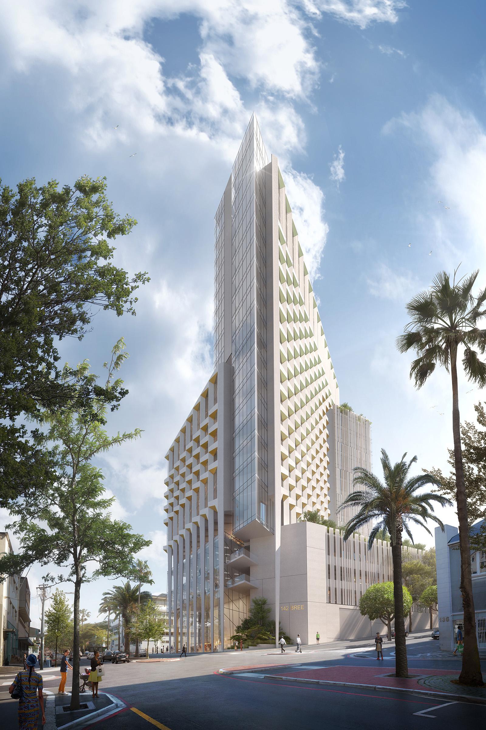 Illustration du futur hotel de Bree Street et de son architecture moderne