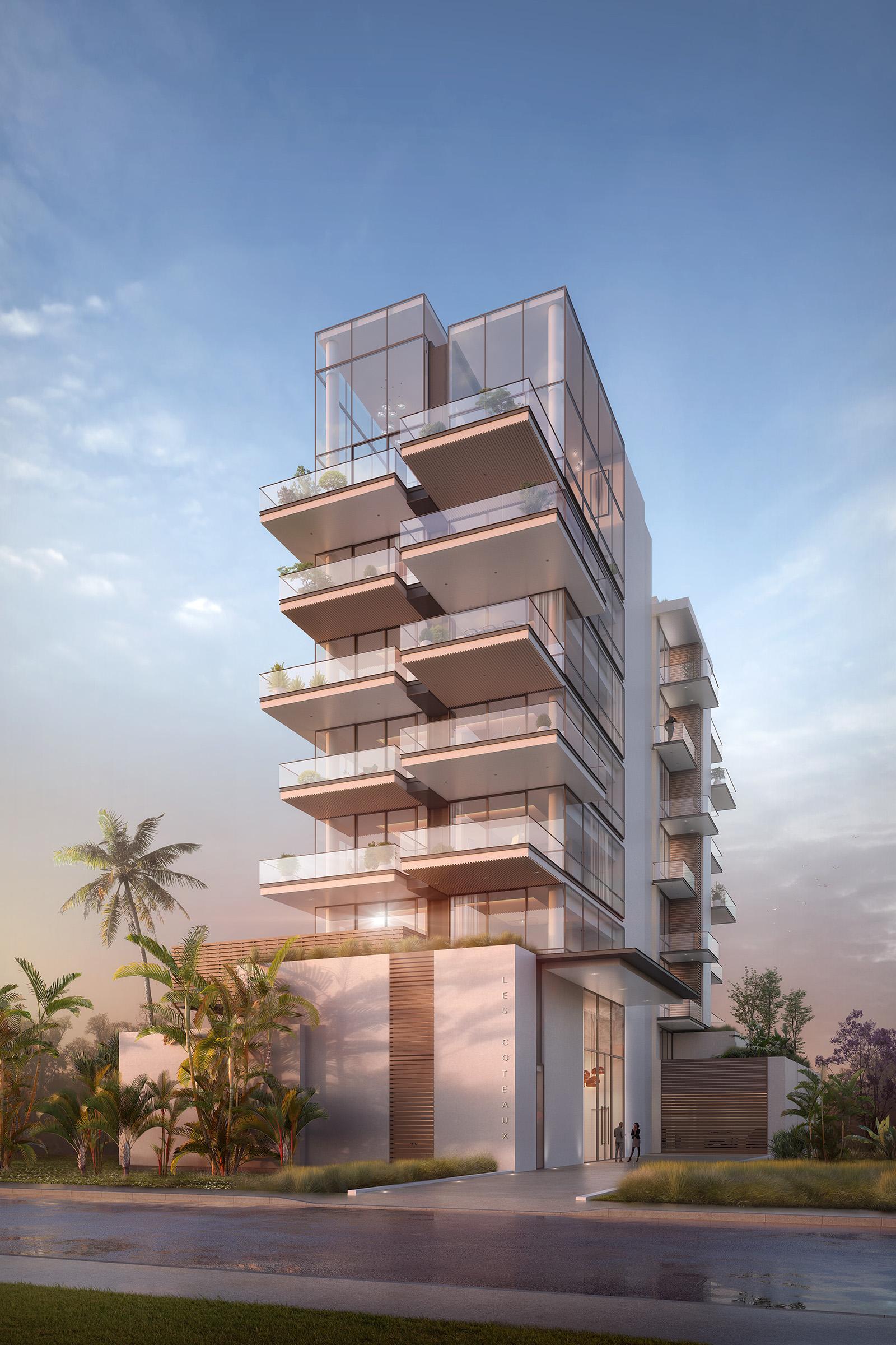 Image de promotion immobilière de logements et leurs grandes terrasses à la tombée de la nuit