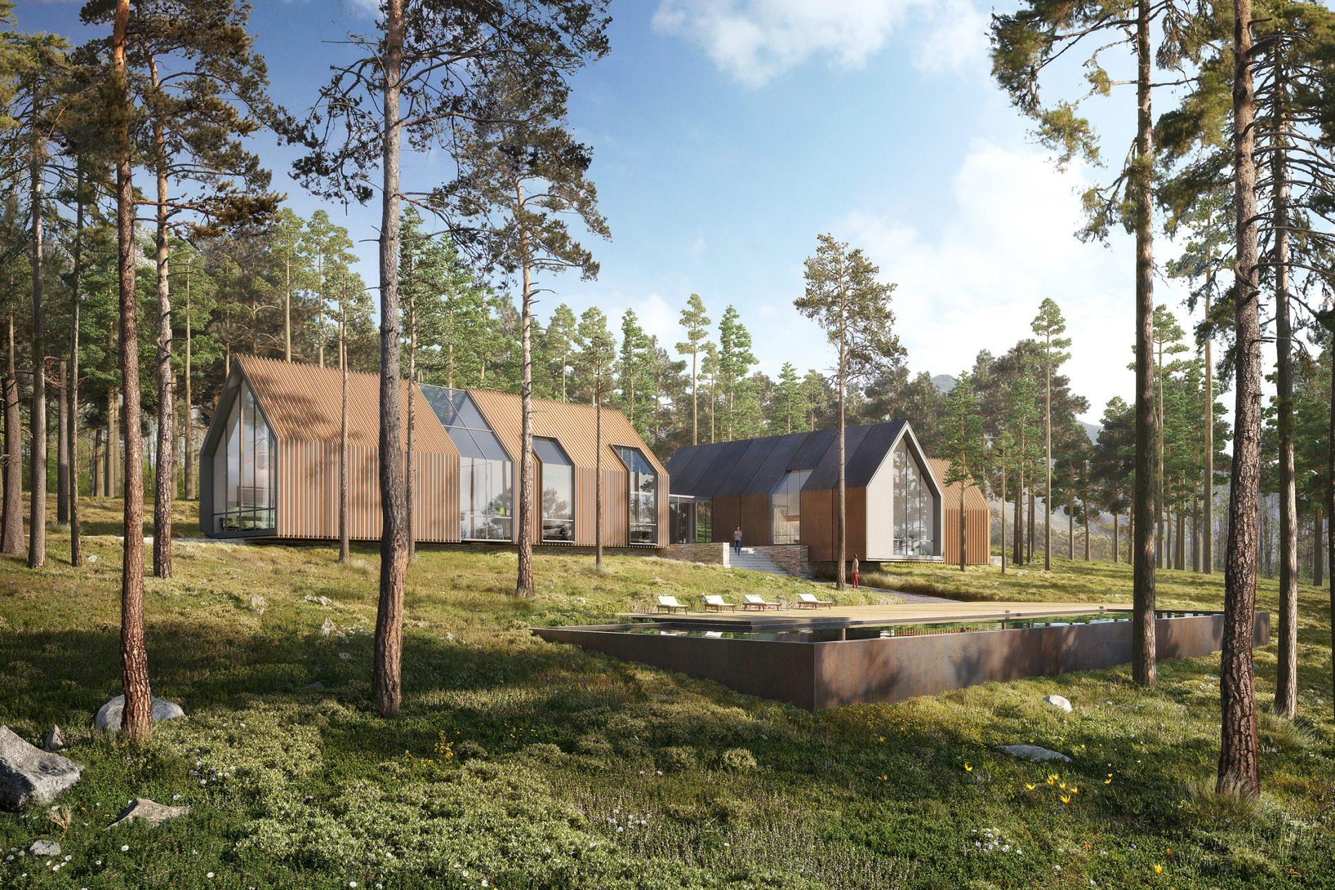 Image de promotion immobilière d'une villa et sa piscine au milieu d'une fôret de pins