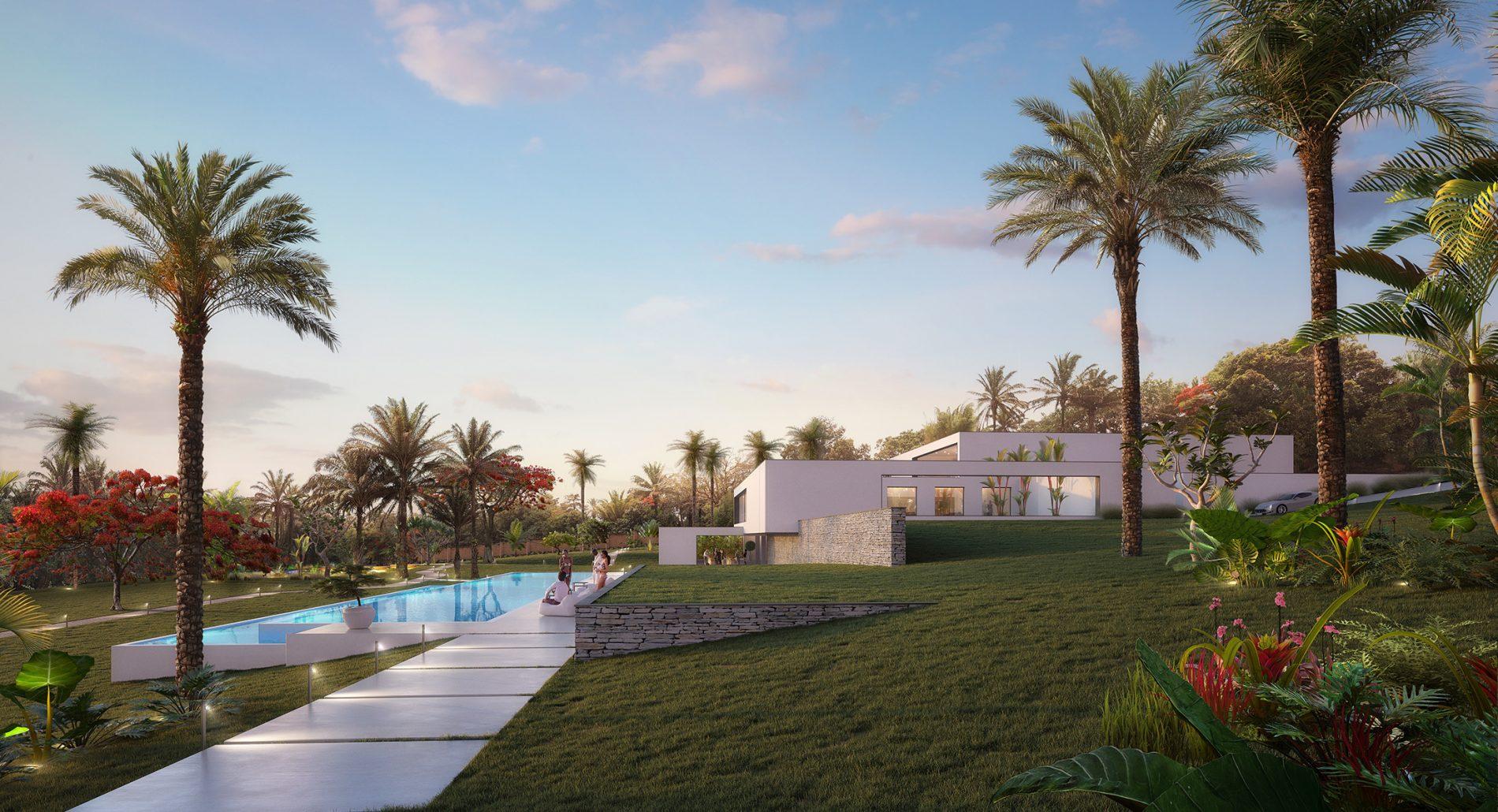 Vue du projet des architectes 2802 depuis le jardin luxuriant, au bord de la piscine entre chien et loup