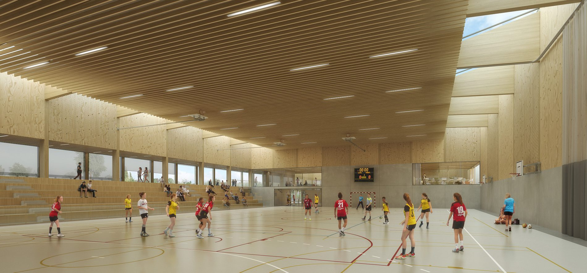 Image du concours d'architecture d'un gymnase moderne tout en bois