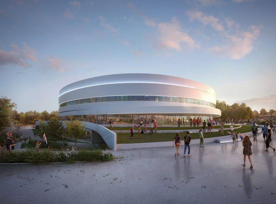 Vue du parvis du palais des sports de Caen - Chabanne Architectes