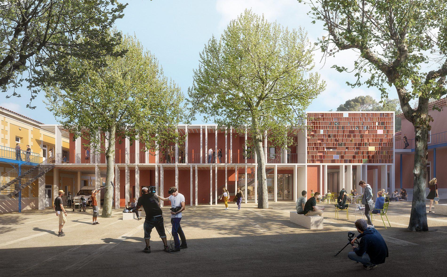 Image de concours d'architecture de l'extension du Satis, blanche et couleur brique