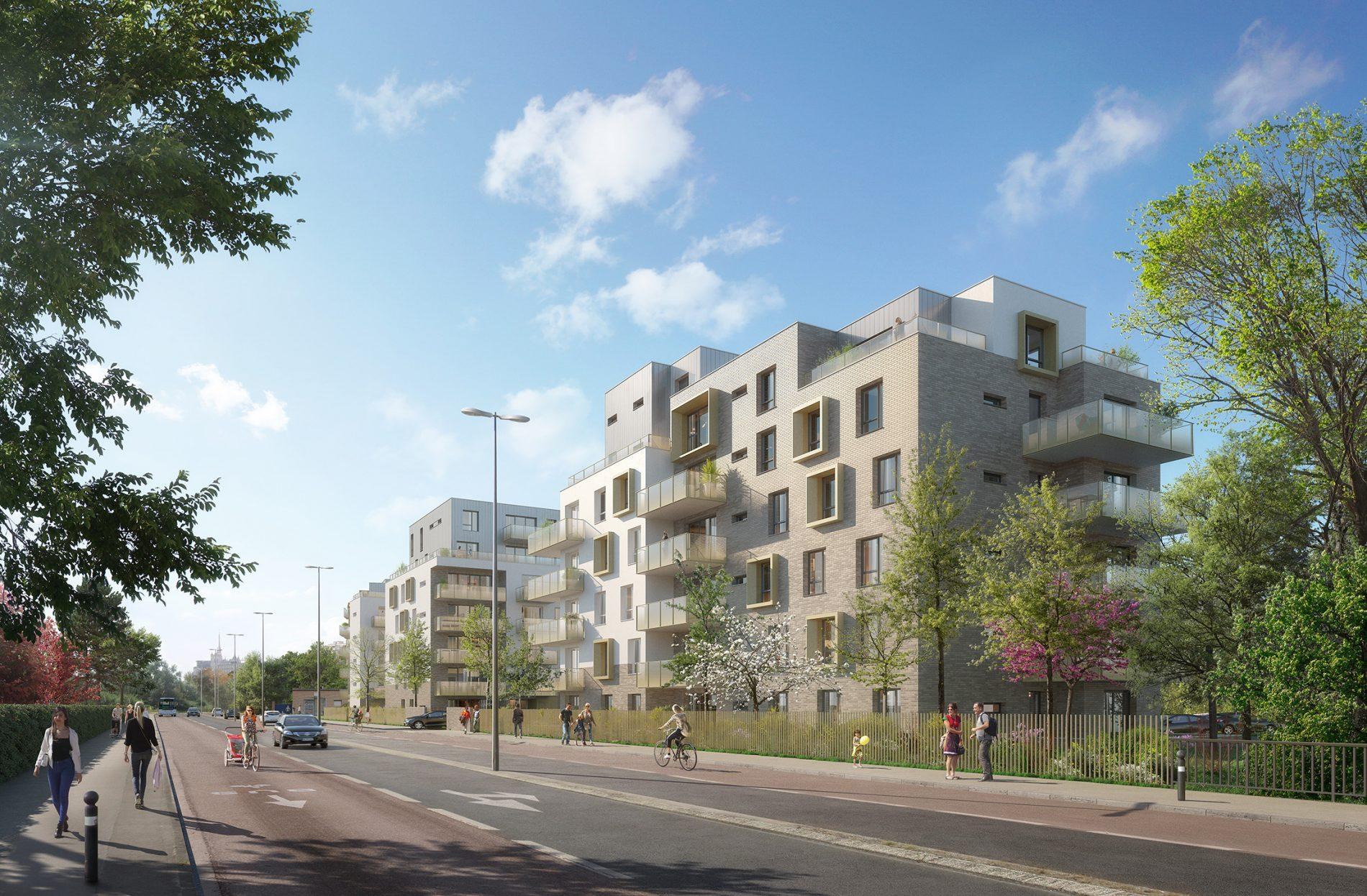 Illustration du projet de logements Bolloré depuis le boulevard pour un permis de construire