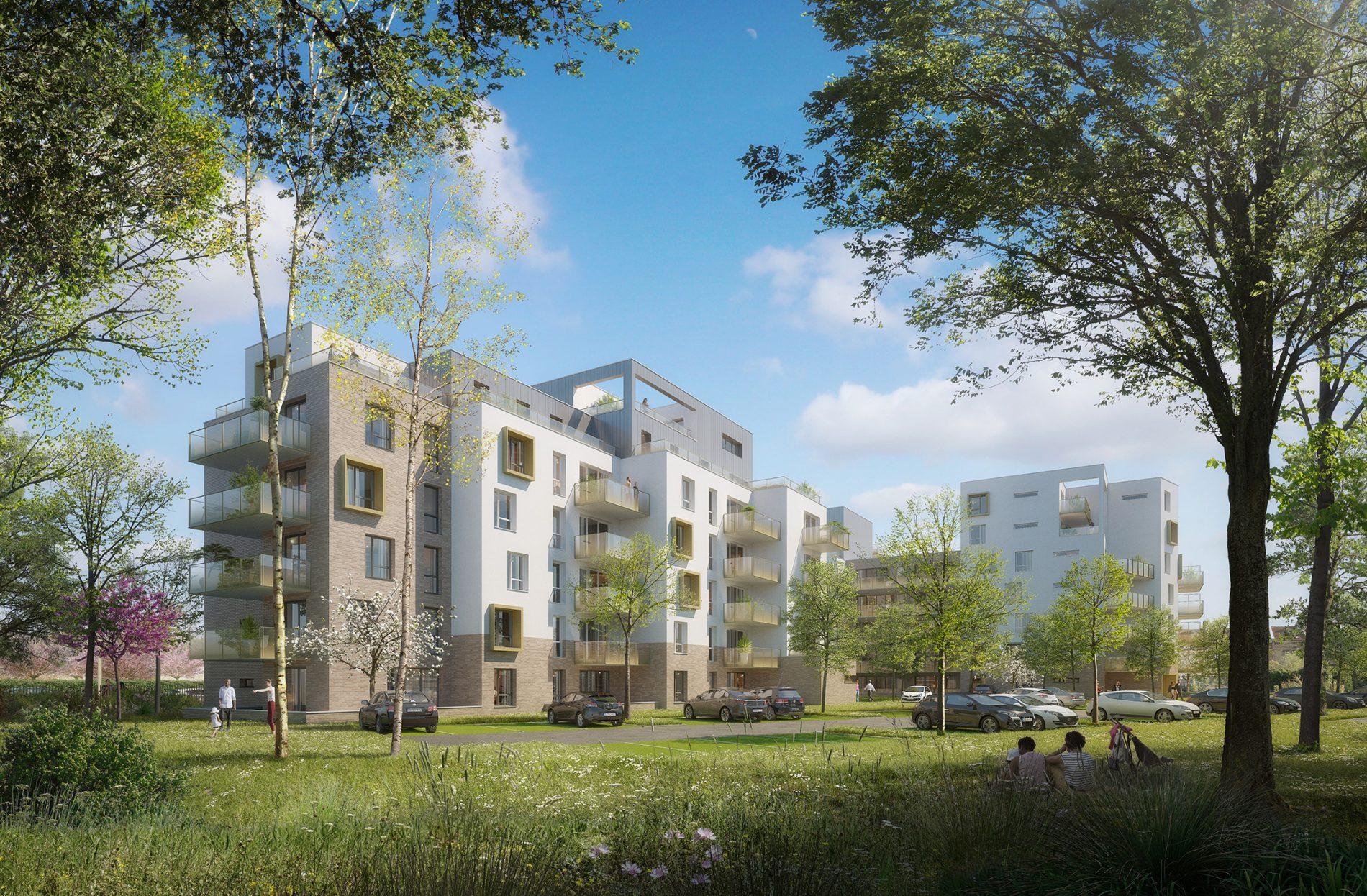 Illustration du projet de logements Bolloré depuis le coeur d'ilôt pour un permis de construire