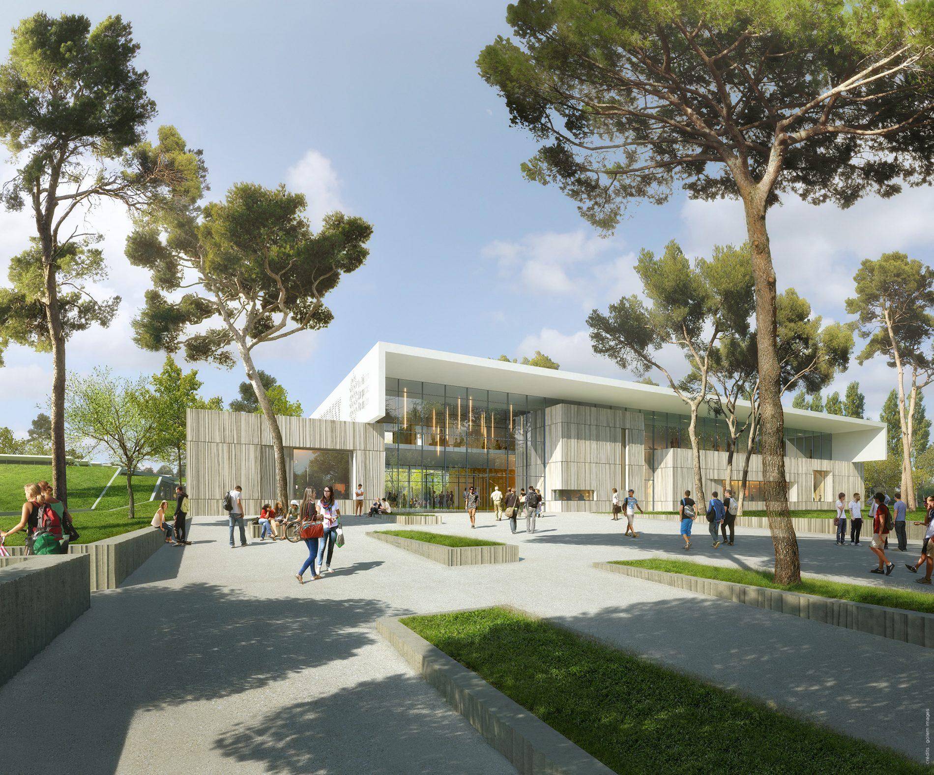 Image du concours d'architecture du Lycée de Castelnaudary, parvis de l'entrée minéral