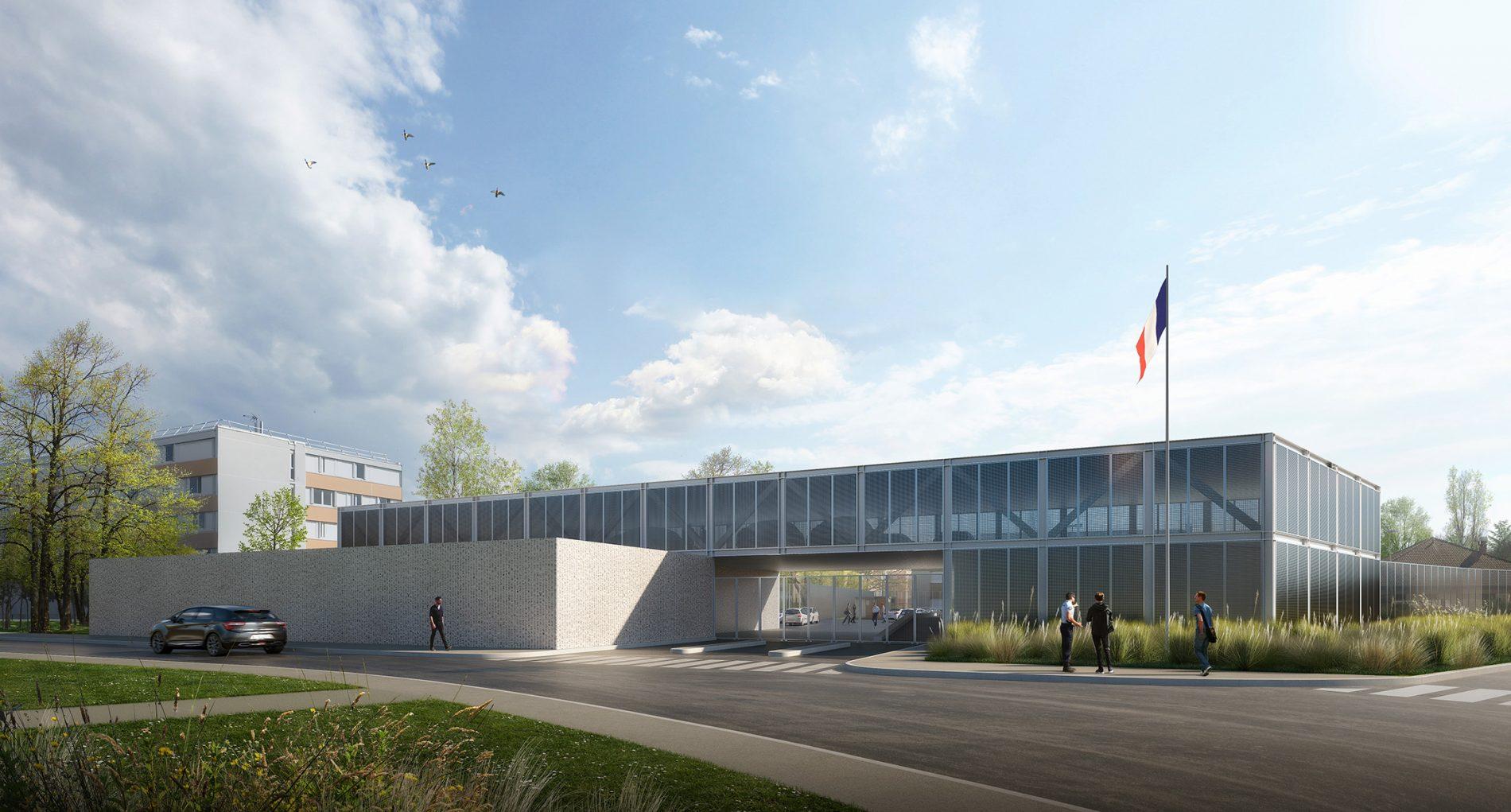 Image du concours d'architecture de l'extension de prison à Fleury-Merogis, béton matricé et tôle perforée