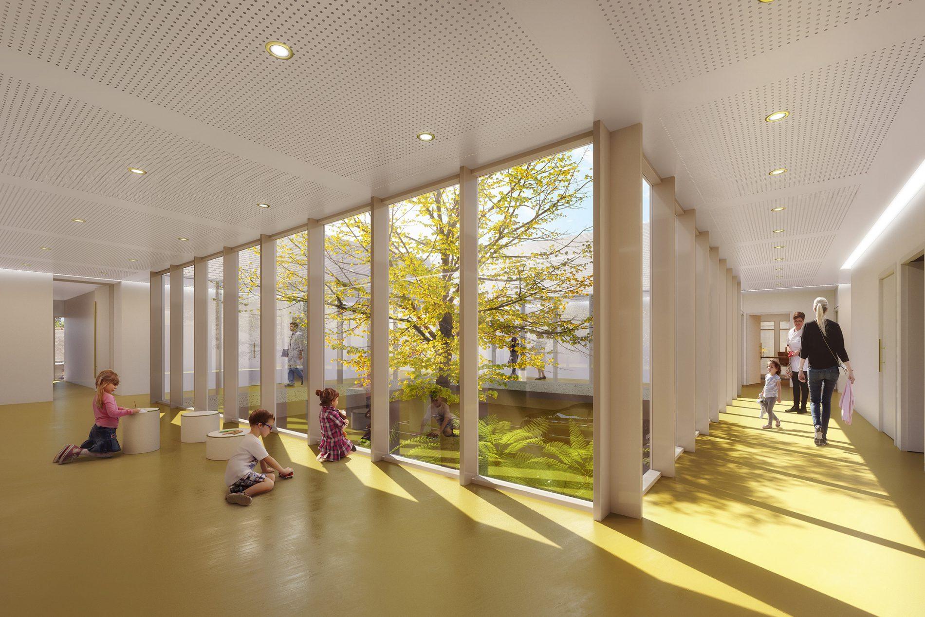 Image du concours d'architecture de la maison de santé à Doué-en-Anjou, hall d'accueil en coursive