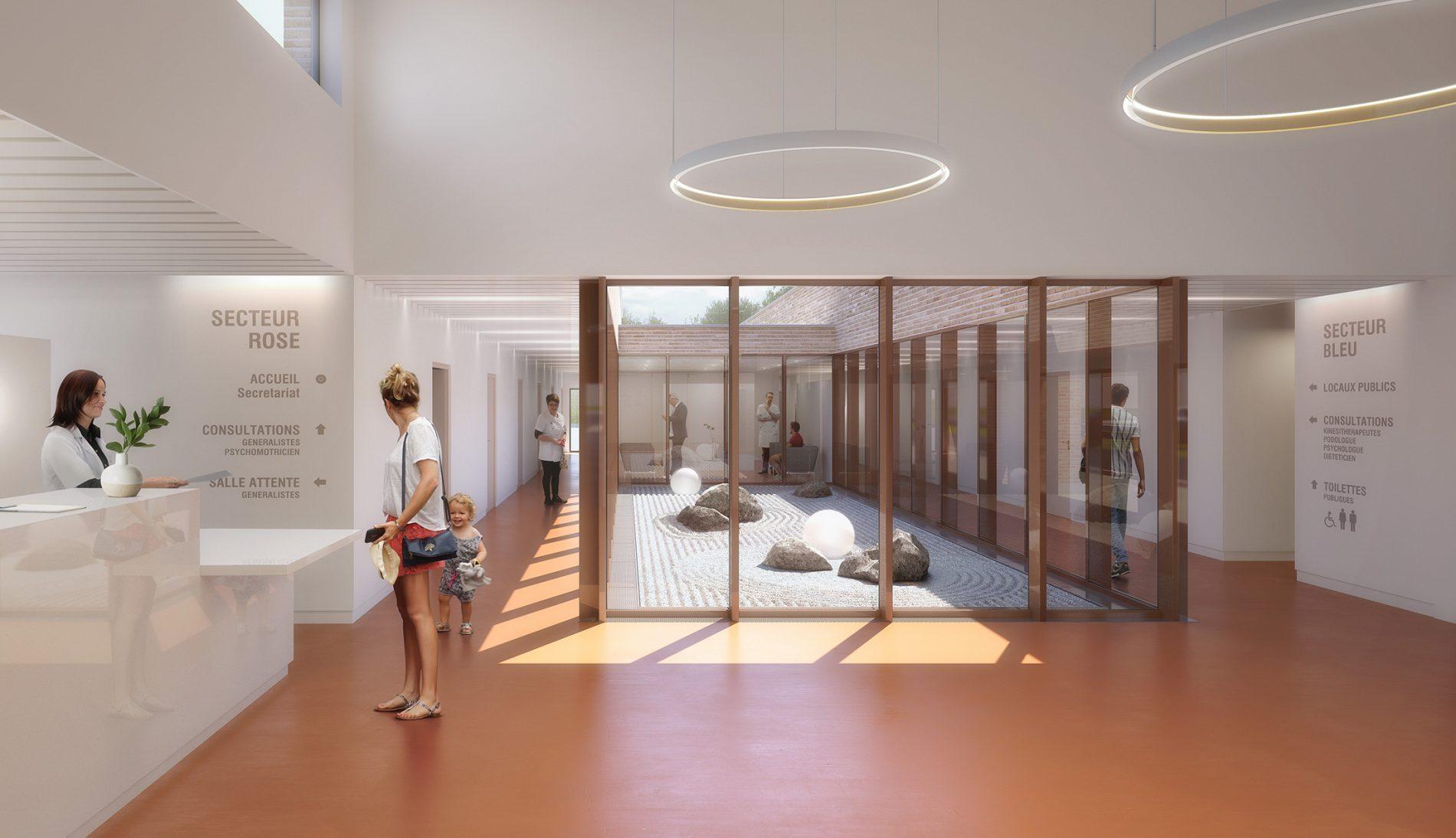 Image du concours d'architecture de la maison de la santé à Charleval, hall d'accueil et son patio japonisan