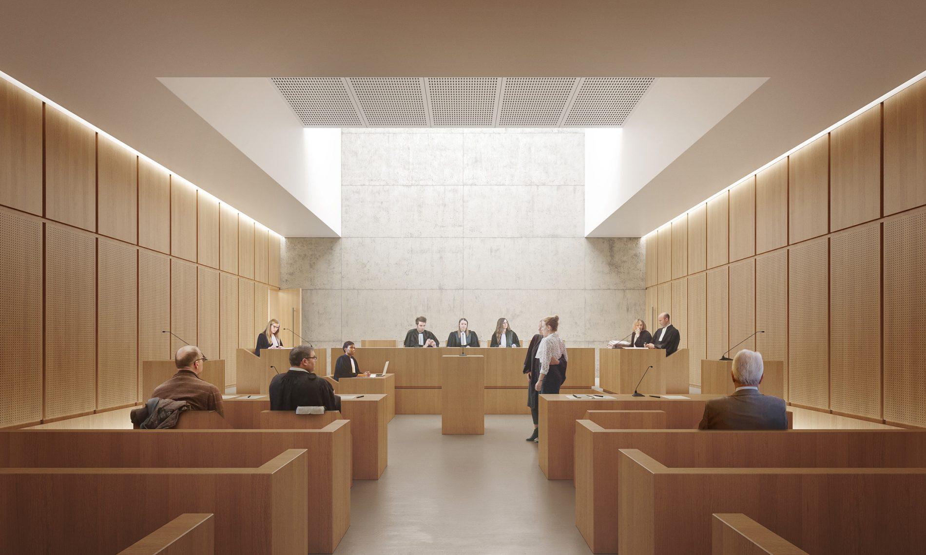 Image du concours d'architecture de la salle de tribunal de Manosque, principalement en bois
