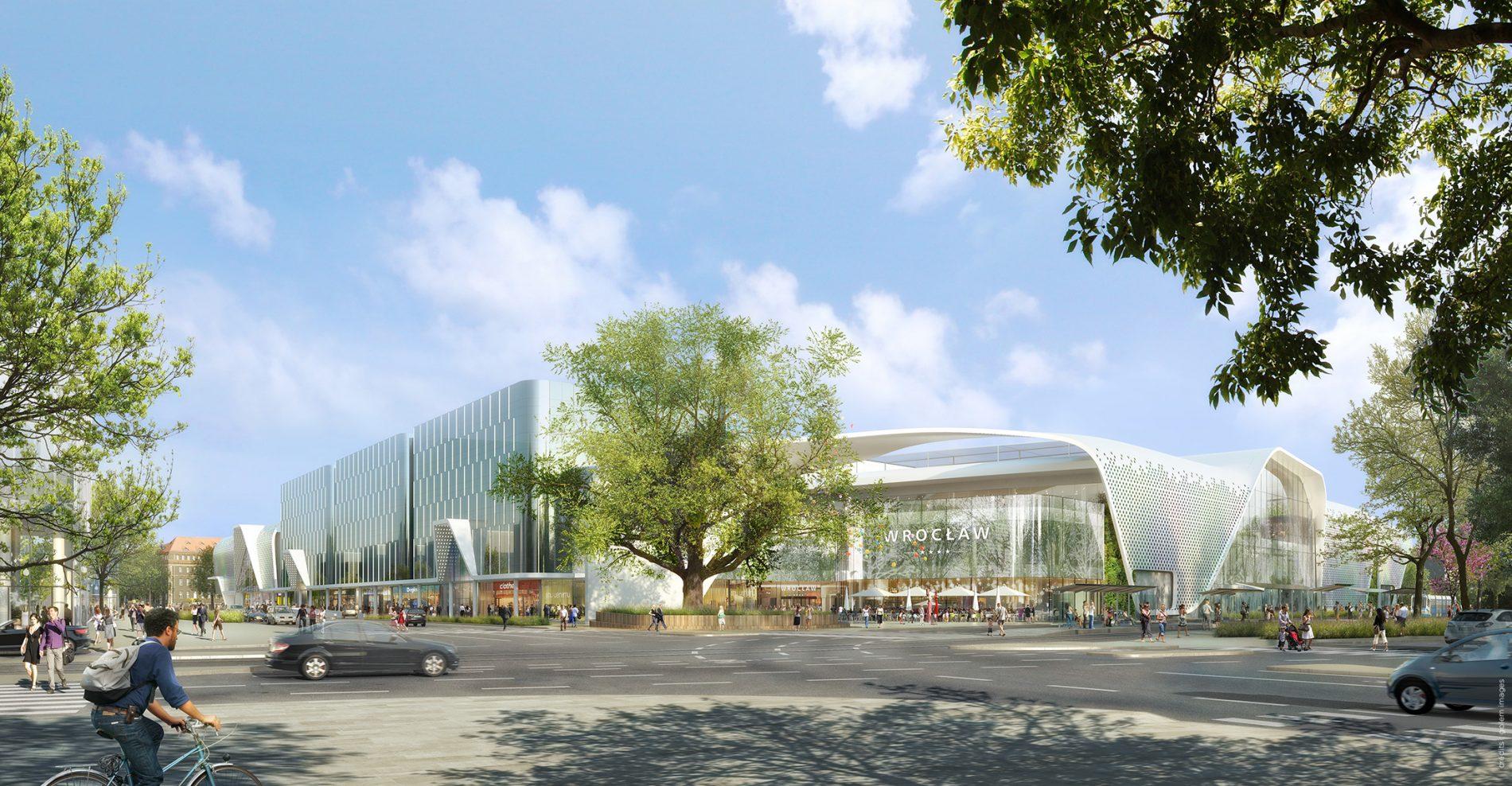 Image depuis la rue du concours d'architecture du centre commercial de Wroclow