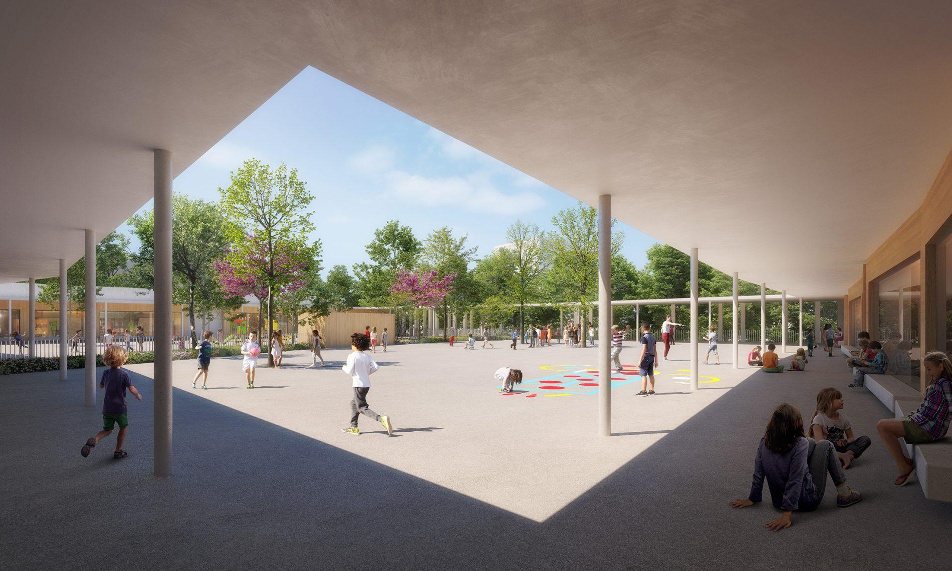 Image du concours d'architecture de la cours d'école du groupe scolaire de Vallon-Régny, arborée et de son préau ombragé