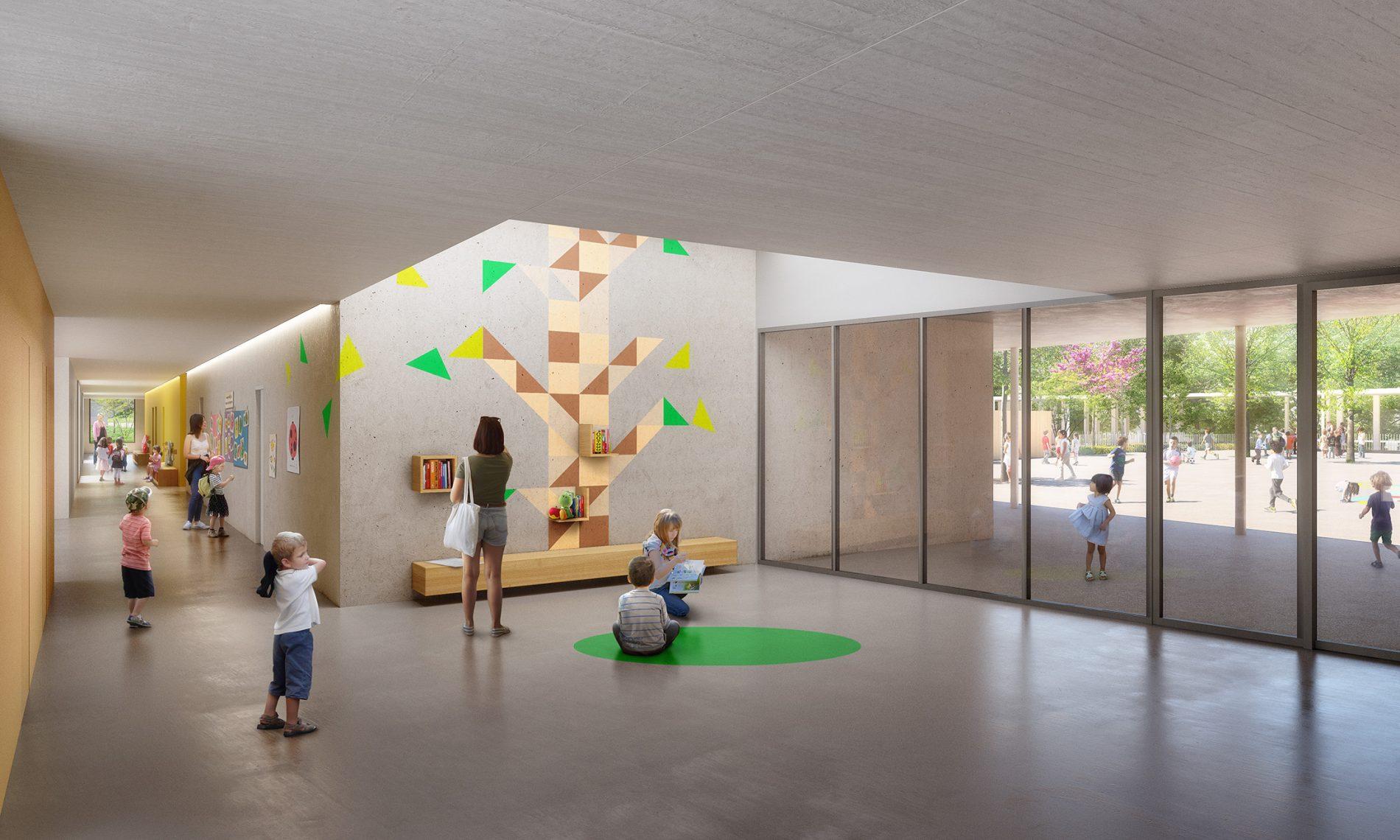 Image du concours d'architecture du groupe scolaire de Vallon-Régny, hall d'accueil et de son puit de lumière