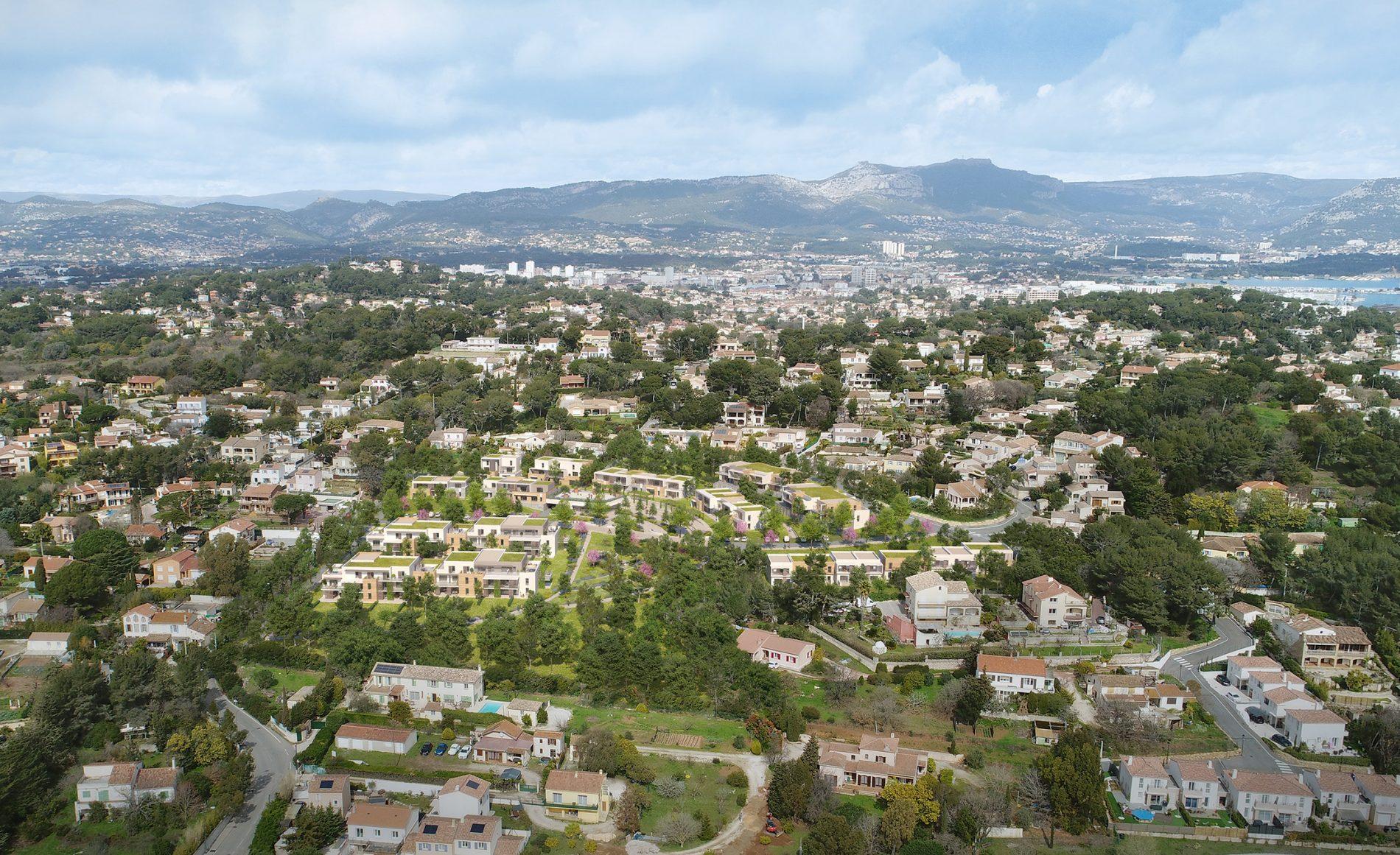 Image du concours d'architecture (vue aérienne) du projet de logements Coste chaude à la Seyne-sur-Mer